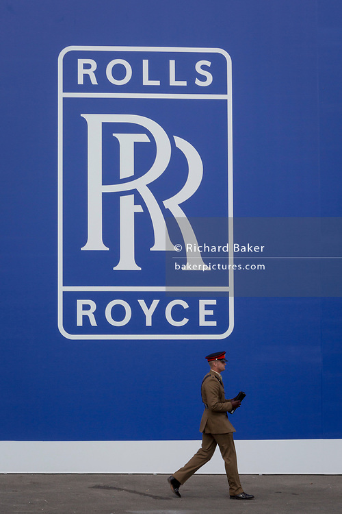 The Rolls-Royce logo outside their hospitality chalet at the Farnborough Airshow, on 16th July 2018, in Farnborough, England. (Photo by Richard Baker / In Pictures via Getty Images)