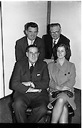 09/02/1964<br /> 02/09/1964<br /> 09 February 1964<br /> Ranks Television Question Time Team at Telefis Eireann studio, Donnybrook, Dublin. Image shows Members of the Ranks, Ireland Sales Ltd. Team, who took part in the Television Question Time on Telefis Eireann (Sun. 9/2/64), opposing Messrs. Guinness. Included  front (l-r): Mr M.B. Stubbs, Director; Miss B. Donnellan. Back (l-r) Mr M. Manning and Mr M. Butler.