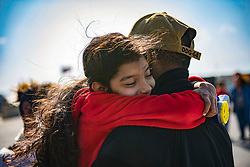 March 23, 2019 - Rota, Spain - Personnel Specialist 1st Class Nigel K. James from New York, receives a hug from his daughter before he gets underway aboard the Arleigh Burke-class guided-missile destroyer USS Carney (DDG 64), March 23, 2019. Carney, forward-deployed to Rota, Spain, is on its sixth patrol in the U.S. 6th Fleet area of operations in support of regional allies and partners as well as U.S. national security interests in Europe and Africa. (Credit Image: © U.S. Navy /ZUMA Wire/ZUMAPRESS.com)