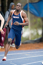 Virginia Cavaliers LeAndre Sherrill competes in the men's 200m dash.  The Virginia Cavaliers Track and Field team hosted the 2007 Lou Onesty/Milton G. Abramson Invitation at Lannigan Field at the University of Virginia on April 14, 2007.