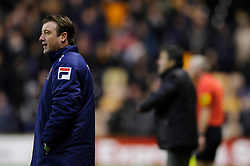 Blackpool caretaker Manager Steve Thompson (ENG) looks on from the touchline during the second half of the match - Photo mandatory by-line: Rogan Thomson/JMP - Tel: Mobile: 07966 386802 26/01/2013 - SPORT - FOOTBALL - Molineux Stadium - Wolverhampton. Wolverhampton Wonderers v Blackpool - npower Championship.