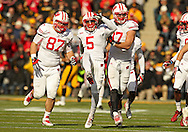 November 02 2013: Wisconsin Badgers defensive end Ethan Hemer (87), Wisconsin Badgers cornerback Darius Hillary (5), Wisconsin Badgers linebacker Brendan Kelly (97) celebrate after Hillary's interception during the second half of the NCAA football game between the Wisconsin Badgers and the Iowa Hawkeyes at Kinnick Stadium in Iowa City, Iowa on November 2, 2013. Wisconsin defeated Iowa 28-9.