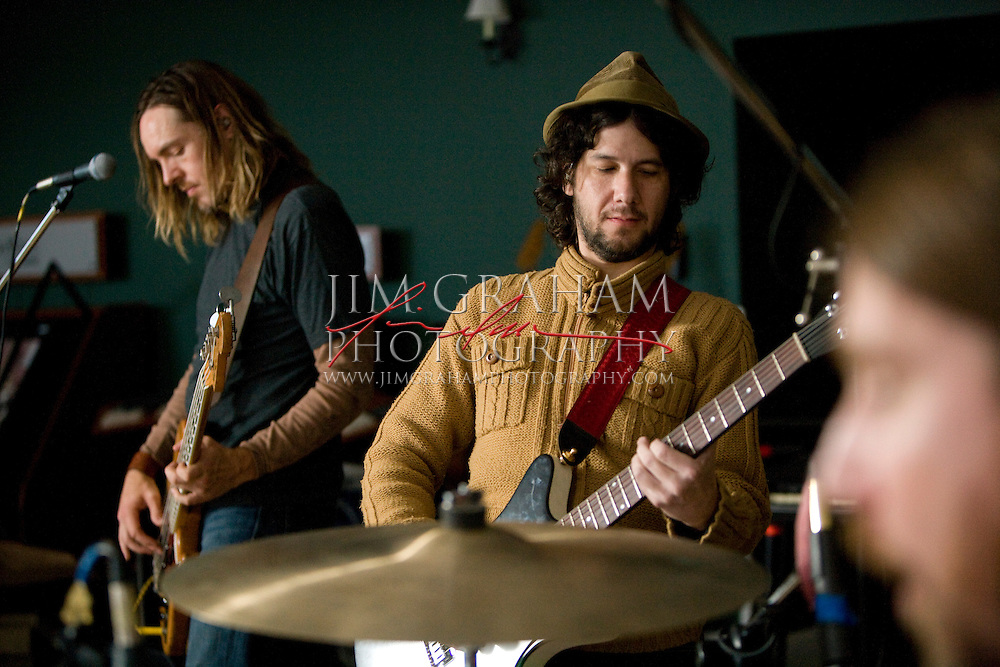 Blind Mellon's .Brad Smith - bass and flute .Christopher Thorn - guitar, mandolin and harmonica .Glenn Graham - drums and percussions.during practce for their upcoming tour, in York, Pa., on 24 Feb. 2008. (Photograph by Jim Graham)