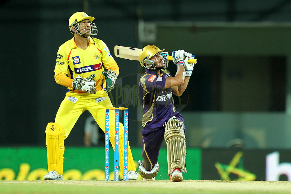 Manish Pande of Kolkata Knight Riders during match 28 of the Pepsi IPL 2015 (Indian Premier League) between The Chennai Superkings and The Kolkata Knight Riders held at the M. A. Chidambaram Stadium, Chennai Stadium in Chennai, India on the 28th April 2015.Photo by:  Prashant Bhoot / SPORTZPICS / IPL