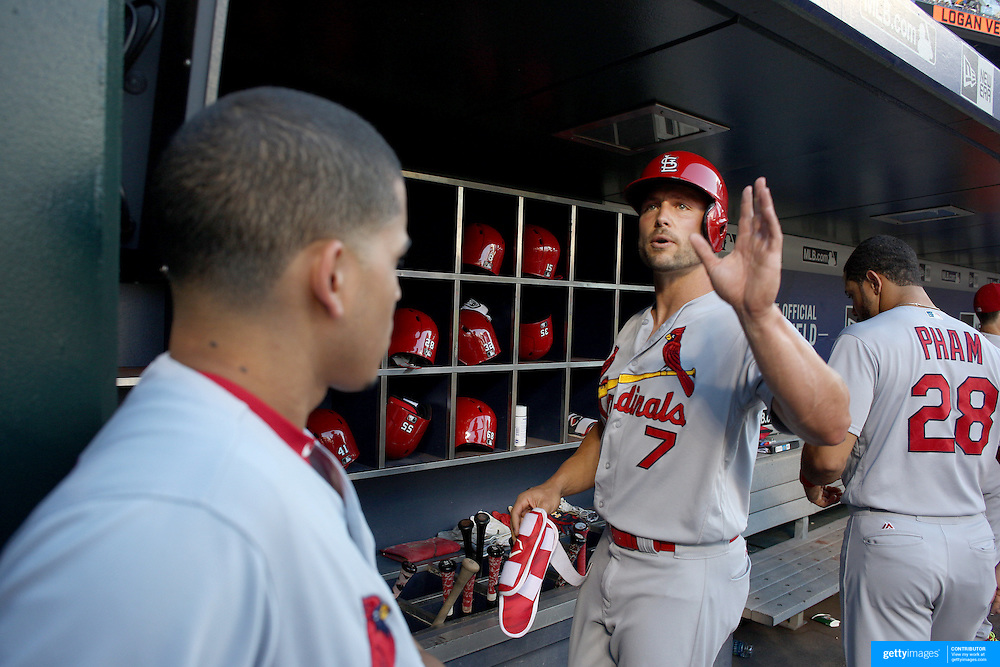 NEW YORK, NEW YORK - July 27: Matt Holliday #7 of the St. Louis Cardinals in the dugout preparing to bat during the St. Louis Cardinals Vs New York Mets regular season MLB game at Citi Field on July 27, 2016 in New York City. (Photo by Tim Clayton/Corbis via Getty Images)
