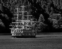 Lake Ashi Tourist Pirate ship. Image taken with a Nikon 1 V3 camera and 70-300 mm VR telephoto zoom lens.