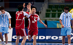 14.01.2011, Scandinavium, Göteborg, SWE, IHF Handball Weltmeisterschaft 2011, Herren, Argentinien vs Korea, im Bild, //  Korea 13 Lee Jae Woo celebrates after scoring in the first with half Korea 7 Jung Su Young // during the IHF 2011 World Men's Handball Championship match Argentinia vs Korea at Scandinavium in Gothenburg. EXPA Pictures © 2011, PhotoCredit: EXPA/ Skycam/ Per Friske ++++++ ATTENTION - OUT OF SWEDEN/SWE +++++