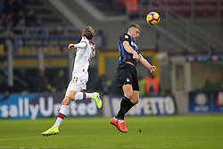 February 3, 2019 - Milan, Milan, Italy - Milan Skriniar #37 of FC Internazionale Milano competes for the ball with  Ladislav Krejci #11 of Bologna FC during the serie A match between FC Internazionale and Bologna FC at Stadio Giuseppe Meazza on February 3, 2019 in Milan, Italy. (Credit Image: © Giuseppe Cottini/NurPhoto via ZUMA Press)