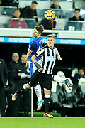 Jonjoe Kenny (#43) of Everton and Matt Ritchie (#11) of Newcastle United contest a header during the Premier League match between Newcastle United and Everton at St. James's Park, Newcastle, England on 13 December 2017. Photo by Craig Doyle.