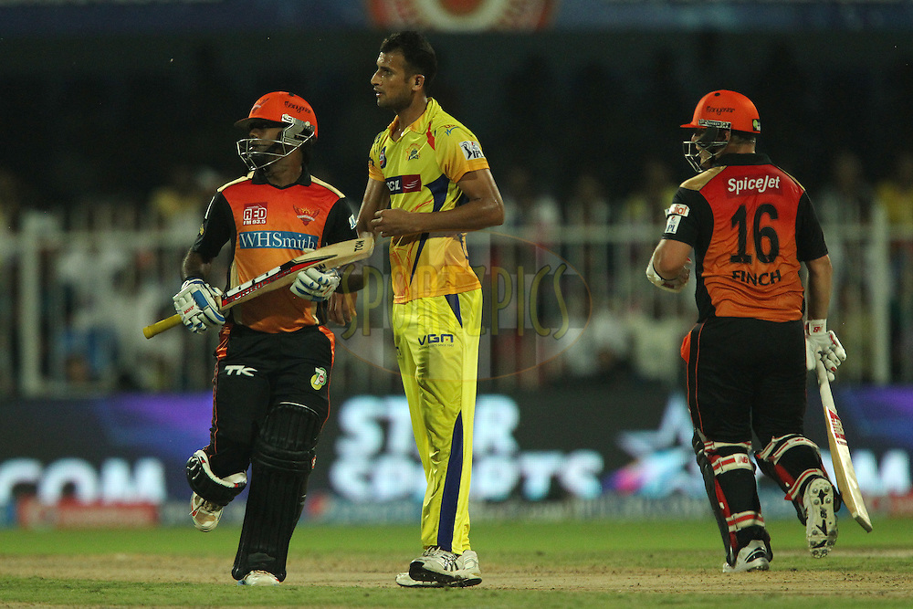 Ishwar Pandey of The Chennai Superkings during match 17 of the Pepsi Indian Premier League 2014 between the Sunrisers Hyderabad and the Chennai Superkings held at the Sharjah Cricket Stadium, Sharjah, United Arab Emirates on the 27th April 2014<br /> <br /> Photo by Ron Gaunt / IPL / SPORTZPICS
