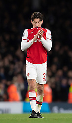LONDON, ENGLAND - Thursday, December 5, 2019: Arsenal's Héctor Bellerín looks dejected during the FA Premier League match between Arsenal FC and Brighton & Hove Albion FC at the Emirates Stadium. Arsenal lost 2-1. (Pic by Vegard Grott/Propaganda)