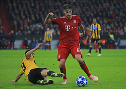 07.11.2018, Champions League, FC Bayern vs AEK Athen, Allianz Arena  Muenchen,  Fussball, Sport, im Bild:...Andre Simoes ( AEK Athen ) vs Javier Martinez (FCB)..DFL REGULATIONS PROHIBIT ANY USE OF PHOTOGRAPHS AS IMAGE SEQUENCES AND / OR QUASI VIDEO...Copyright: Philippe Ruiz..Tel: 089 745 82 22.Handy: 0177 29 39 408.e-Mail: philippe_ruiz@gmx.de. (Credit Image: © Philippe Ruiz/Xinhua via ZUMA Wire)