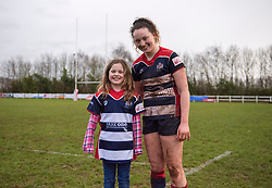 Sophie Peters of Bristol Ladies poses with the matchday mascot - Mandatory by-line: Paul Knight/JMP - 03/02/2018 - RUGBY - Cleve RFC - Bristol, England - Bristol Ladies v Harlequins Ladies - Tyrrells Premier 15s