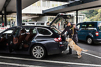 COMO, ITALY - 25 October 2013: A cash dog of Italy's Guardia di Finanza (Financial Police searches for undeclared cash in the car of a man suspected of smuggling money across the border with Swizerland in Como, Italy, at the border with Chiasso (Switzerland) on October 25th 2013. Cash dogs are sniffer dogs that have specially trained to detect the ink on currency notes. In the effort of cracking down on tax evasion and cash smuggling, the Guardia di Finanza works with highly trained dogs in outposts along its borders with Switzerland and France, and in international airports such as Rome Fiumicino and Milano Malpensa.<br /> <br /> In Italy, the law allows to travel with up to 10,000 euros in cash. Beyond that, one must declare to the authorities.<br /> <br /> In 2012, the Guardia di Finanza of the  borders with Chiasso in Switzerland have intercepted more than 55 million euros not declared. In 2013, until September 31st, they have intercepted more than 92 million euros.  The Guardia di Finanza of the Chiasso outpost has been using cash dogs since 2010.