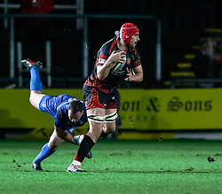 Cory Hill of Dragons<br /> <br /> Photographer Simon King/Replay Images<br /> <br /> Guinness PRO14 Round 10 - Dragons v Leinster - Saturday 1st December 2018 - Rodney Parade - Newport<br /> <br /> World Copyright © Replay Images . All rights reserved. info@replayimages.co.uk - http://replayimages.co.uk