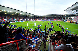 Doncaster Knights and Bristol Rugby run out to a sell out crowd at Ashton Gate - Mandatory byline: Joe Meredith/JMP - 25/05/2016 - RUGBY UNION - Ashton Gate Stadium - Bristol, England - Bristol Rugby v Doncaster Knights - Greene King IPA Championship Play Off FINAL 2nd Leg.