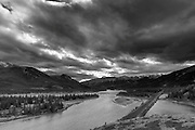 Black and White landscape photographs of Jasper Lake, Jasper National Park, Alberta, AB, Canada