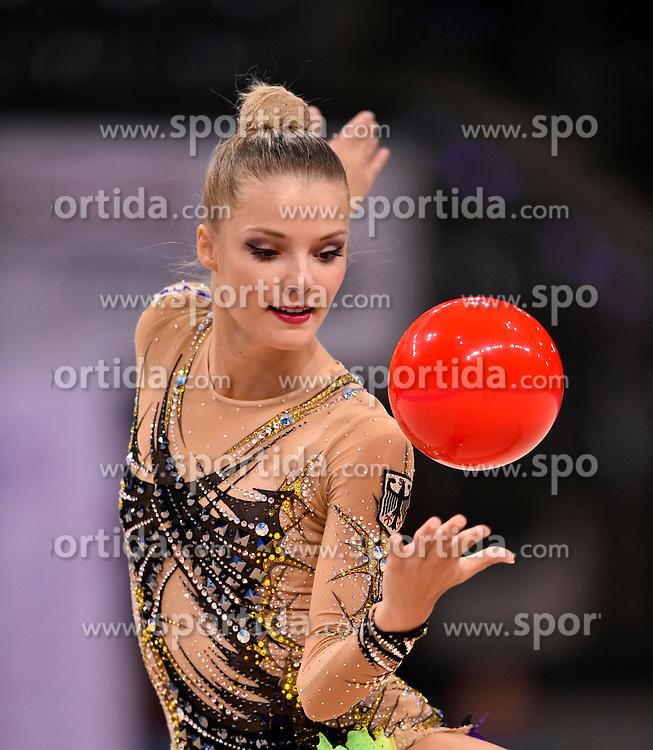 07.09.2015, Porsche Arena, Stuttgart, GER, Gymnastik WM, im Bild Laura Jung (GER) Ball // during the World Rhythmic Gymnastics Championships at the Porsche Arena in Stuttgart, Germany on 2015/09/07. EXPA Pictures &copy; 2015, PhotoCredit: EXPA/ Eibner-Pressefoto/ Weber<br /> <br /> *****ATTENTION - OUT of GER*****