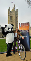 """WWF's """"Charging up for earth hour"""" event in the Victoria tower Gardens next to the Palace of Westminster."""