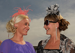 LIVERPOOL, ENGLAND - Friday, April 9, 2010: Vicky Jump and her mother from St Helens attend Ladies' Day during the second day of the Grand National Festival at Aintree Racecourse. (Pic by David Rawcliffe/Propaganda)