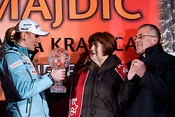 Mother and father of Petra Majdic when she arrived home with small cristal globus at the end of the nordic season 2008/2009, on March 24, 2009, in Dol pri Ljubljani, Slovenia. (Photo by Vid Ponikvar / Sportida)