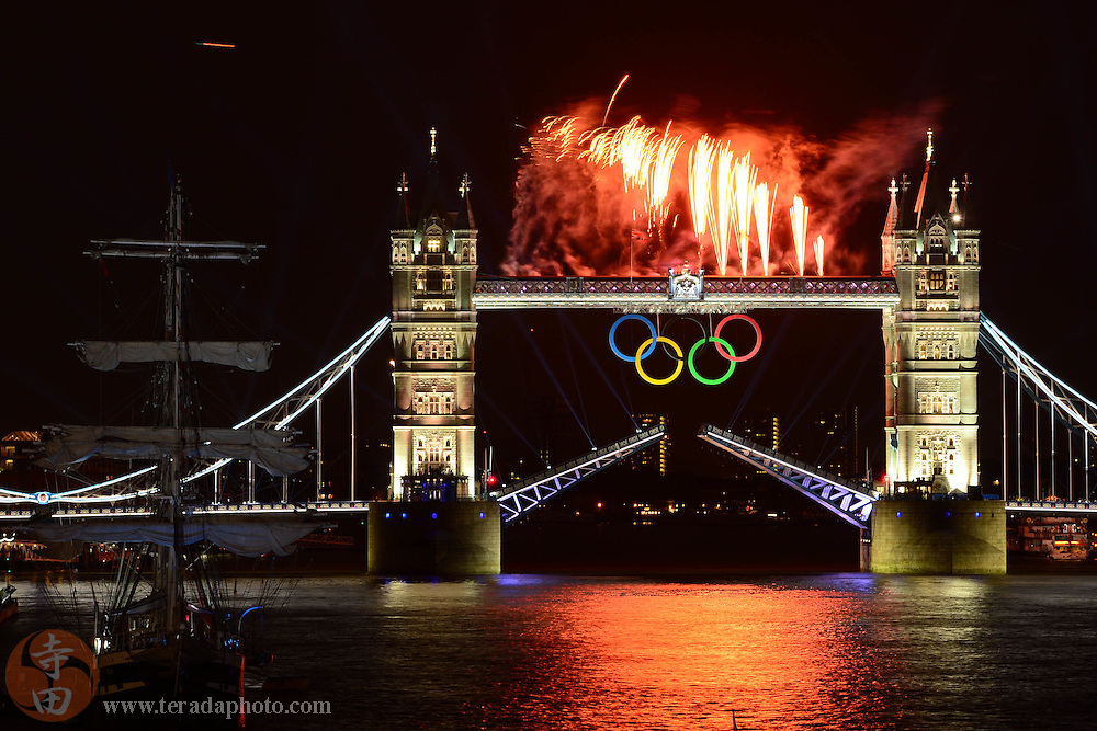 Jul 27, 2012; London, United Kingdom; General view of fireworks during the opening ceremony at Tower Bridge.