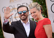 RICKY GERVAIS + wife @ the 73rd Annual Golden Globe awards held @ the Beverly Hilton hotel.<br /> ©Exclusivepix Media