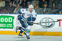 PENTICTON, CANADA - SEPTEMBER 8: Johah Gadjovic #43 of Vancouver Canucks skates against the Winnipeg Jets on September 8, 2017 at the South Okanagan Event Centre in Penticton, British Columbia, Canada.  (Photo by Marissa Baecker/Shoot the Breeze)  *** Local Caption ***