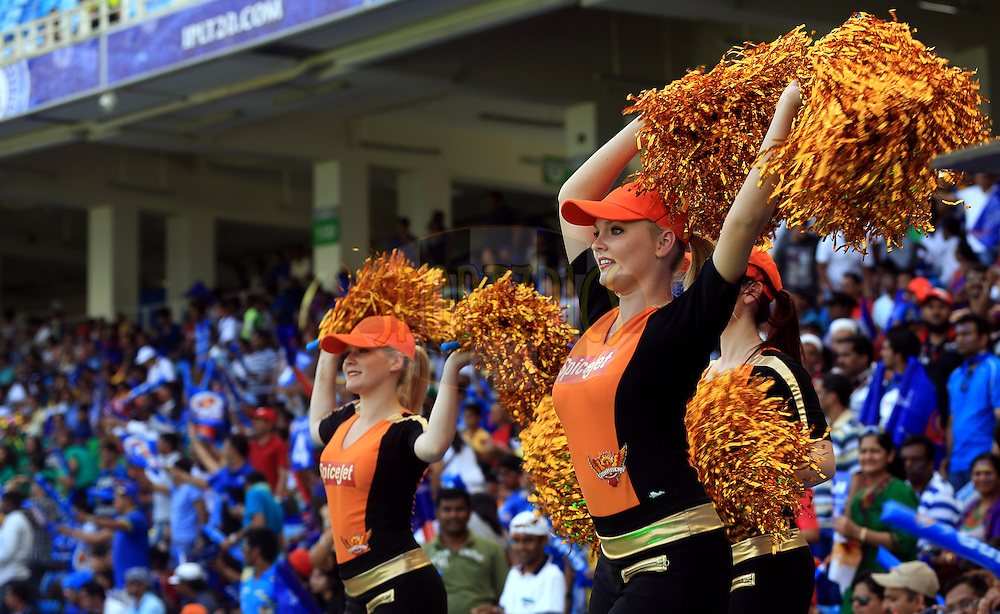 Cheer Girls Performs during match 12 of the Pepsi Indian Premier League Season 7 between the Sunrisers Hyderabad and the Delhi Daredevils held at the Dubai International Stadium, Dubai, United Arab Emirates on the 25th April 2014<br /> <br /> Photo by Sandeep Shetty / IPL / SPORTZPICS