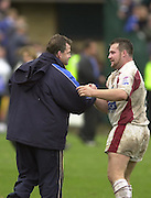Photo Peter Spurrier.26/10/2002.Zurich Premiership Rugby - Bath v Leeds Tykes.Ex Bath - Mark Regan right and Jon Callard, congratulate each other at the end of the game... [Mandatory Credit:Peter SPURRIER/Intersport Images]