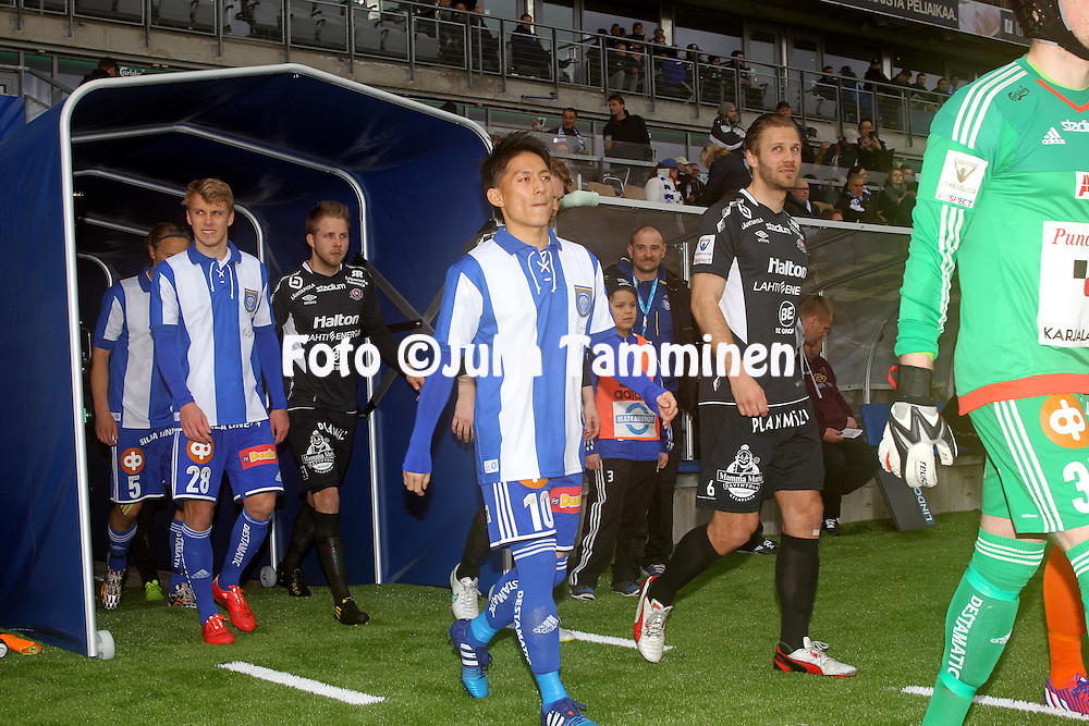 19.4.2015, Sonera stadion, Helsinki.<br /> Veikkausliiga 2015.<br /> Helsingin Jalkapalloklubi - FC Lahti..<br /> Atomu Tanaka &amp; Rasmus Sch&uuml;ller (HJK) v Pyry K&auml;rkk&auml;inen &amp; Jussi L&auml;nsitalo (FC Lahti)