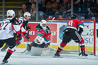 KELOWNA, CANADA - OCTOBER 28: Vladislav Mikhalchuk #29 of the Prince George Cougars scores a first period goal on Kelowna Rockets on October 28, 2017 at Prospera Place in Kelowna, British Columbia, Canada.  (Photo by Marissa Baecker/Shoot the Breeze)  *** Local Caption ***