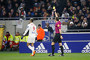 Mariano Diaz of Lyon Yellow card and Ruddy Buquet referee during the French Championship Ligue 1 football match between Olympique Lyonnais and AS Saint-Etienne on february 25, 2018 at Groupama stadium in Décines-Charpieu near Lyon, France - Photo Romain Biard / Isports / ProSportsImages / DPPI