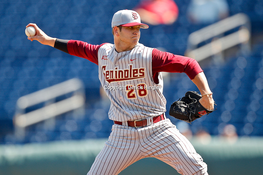 February 24, 2011; Clearwater, FL, USA; Florida State Seminoles starting pitcher Tyler Everett (28) throws during a spring training exhibition game against the Philadelphia Phillies at Bright House Networks Field. The Phillies defeated the Seminoles 8-0. Mandatory Credit: Derick E. Hingle