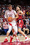 FAYETTEVILLE, AR - MARCH 9:  Daniel Gafford #10 of the Arkansas Razorbacks drives to the basket during a game against the Alabama Crimson Tide at Bud Walton Arena on March 9, 2019 in Fayetteville, Arkansas.  The Razorbacks defeated the Crimson Tide 82-70.  (Photo by Wesley Hitt/Getty Images) *** Local Caption *** Daniel Gafford