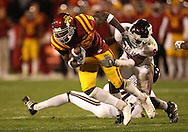 25 OCTOBER 2008: Iowa State wide receiver R.J. Sumrall (5) is pulled down by the defender in the second half of an NCAA college football game between Iowa State and Texas A&M, at Jack Trice Stadium in Ames, Iowa on Saturday Oct. 25, 2008. Texas A&M beat Iowa State 49-35.