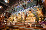 Songgwangsa temple. Buddhas in the main hall.