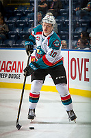 KELOWNA, CANADA - SEPTEMBER 29: Ted Brennan #10 of the Kelowna Rockets warms up with the puck against the Everett Silvertips on September 29, 2017 at Prospera Place in Kelowna, British Columbia, Canada.  (Photo by Marissa Baecker/Shoot the Breeze)  *** Local Caption ***