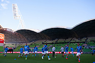 MELBOURNE, AUSTRALIA - APRIL 13: Melbourne City is seen as they warm up prior to the match during round 25 of the Hyundai A-League soccer match between Melbourne City FC and Adelaide United on April 13, 2019 at AAMI Park in Melbourne, Australia. (Photo by Speed Media/Icon Sportswire)