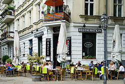 Traditional restaurant called Restauration on Kollwitzplatz in Prenzlauer Berg Berlin Germany