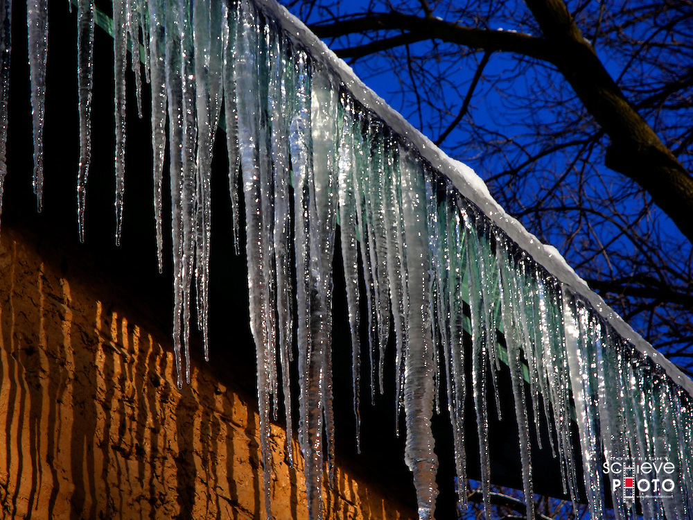 Icicles on a roof.