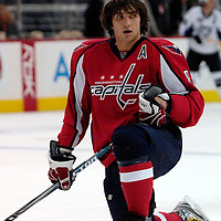 26 December 2007:  Washington Capitals left wing Alexander Ovechkin (8) stretches  during warm ups prior to the game against the Tampa Bay Lightning at the Verizon Center in Washington, D.C.  The Capitals defeated the Lightning 3-2.