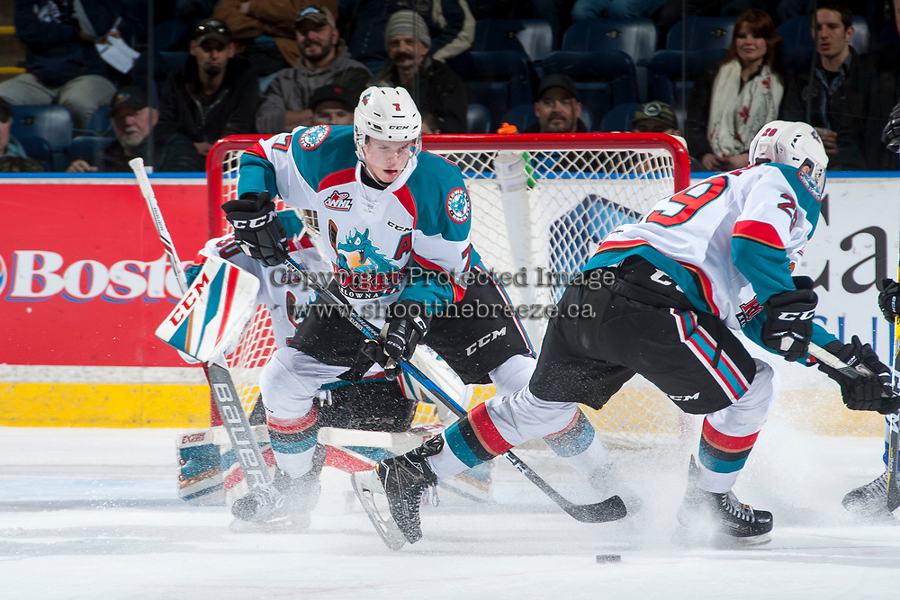 KELOWNA, CANADA - MARCH 7: Lucas Johansen #7 of the Kelowna Rockets takes control of the puck in the defensive zone against the Victoria Royals on March 7, 2017 at Prospera Place in Kelowna, British Columbia, Canada.  (Photo by Marissa Baecker/Shoot the Breeze)  *** Local Caption ***