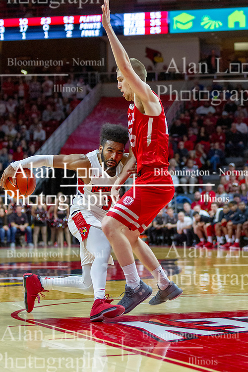 NORMAL, IL - February 16: Keyshawn Evans defended by Nate Kennell as he moves into the paint during a college basketball game between the ISU Redbirds and the Bradley Braves on February 16 2019 at Redbird Arena in Normal, IL. (Photo by Alan Look)