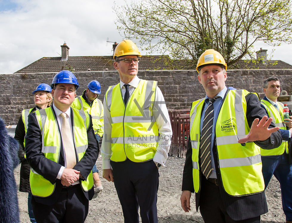 24.04.2017.       <br /> Minister for Housing Simon Coveney visiting the Lord Edward Street site in Limerick, where 81 units for social housing are nearing completion as part of the Limerick Regeneration programme.  57 of which are elderly units (1 and 2 bed apts and 2 bed houses) with the remainder (24) being family homes (3 bed)​. <br /> <br /> Minister for Housing Simon Coveney (centre) is pictured on site with Senator Kieran O'Donnell (left) and Senior Executive Architect at Limerick City Council, Seamus Hanrahan. Picture: Alan Place.