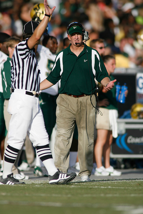October 6, 2007 - Ft. Lauderdale, FL<br /> <br /> Head coach Jim Leavitt of the South Florida Bulls in action during the University of South Florida's 35-23 victory over Florida Atlantic University at Lockhart Stadium in Ft. Lauderdale, Florida.<br /> <br /> JC Ridley/CSM