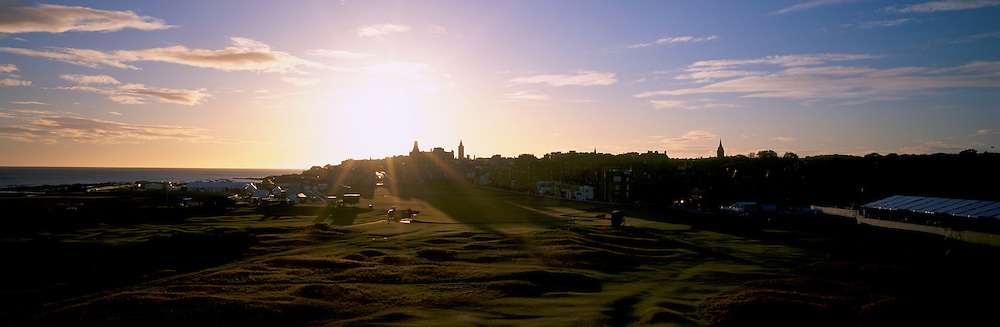 Panoramic Time Lapse Feature on St.Andrews,Old Course,St Andrews,Fife,Scotland.Picture 5,October, 2005. Early sunrise in autumn at the Dunhill Links Championship 17th - par 4 'Road Hole'.