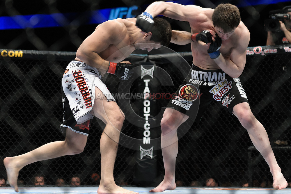 """LONDON, ENGLAND, FEBRUARY 21, 2009: Demian Maia (left) and Chael Sonnen during """"UFC 95: Sanchez vs. Stevenson"""" inside the O2 Arena in Greenwich, London."""