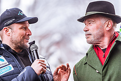 26.01.2019, Rasmushof Alm, Kitzbühel, AUT, FIS Weltcup Ski Alpin, Pressekonferenz, Arnold Schwarzenegger präsentiert eigenen Ski im Stil seines R20 Austrian World Summit, im Bild v.l.: Aksel Lund Svindal (NOR), Arnold Schwarzenegger // f.l.: Aksel Lund Svindal (NOR) Arnold Schwarzenegger  during a press conference, Arnold Schwarzenegger presents own skis in the style of his R20 Austrian World Summit at the Rasmushof Alm in Kitzbühel, Austria on 2019/01/26. EXPA Pictures © 2019, PhotoCredit: EXPA/ JFK
