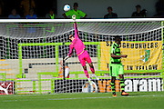 Sam Russell (23) of Forset Green Rovers  saves a shot by tipping the ball over the bar during the Vanarama National League match between Forest Green Rovers and Southport at the New Lawn, Forest Green, United Kingdom on 29 August 2016. Photo by Graham Hunt.